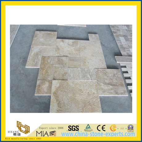 Natural Polished Beige Travertine Marble Tile for Wall/Flooring (YQC)