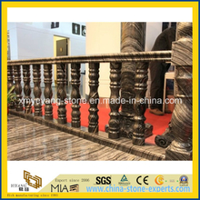 Chinese Black Wooden Vein Marble Railing & Stair Baluster