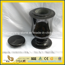 High Polished Shanxi Black Granite Cremation Urn / Funeral Urn